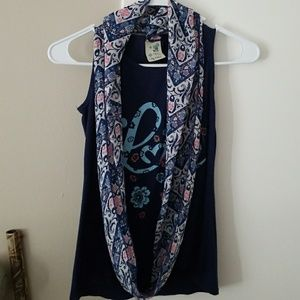 Other - Cute Tank top with sheer scarf
